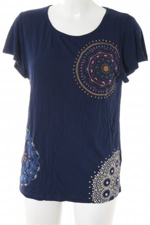 Desigual T-Shirt dunkelblau abstraktes Muster Casual-Look