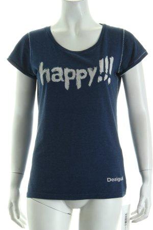 Desigual T-Shirt dunkelblau Schriftzug gedruckt Casual-Look