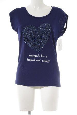 Desigual T-Shirt dunkelblau-weiß Schriftzug gedruckt Casual-Look