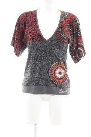 Desigual T-Shirt grau-dunkelrot florales Muster Boho-Look