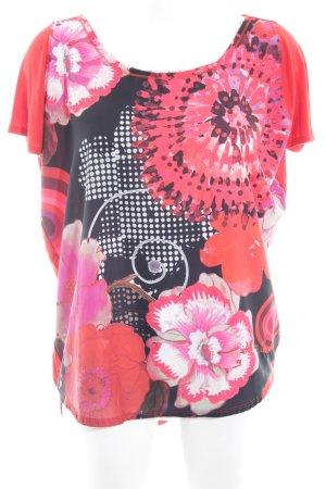 Desigual T-Shirt rot-blasslila Blumenmuster Casual-Look