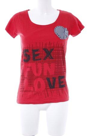 Desigual T-Shirt rot Schriftzug gedruckt Casual-Look