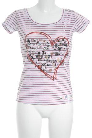 Desigual T-Shirt rot-weiß Herzmuster sportlicher Stil