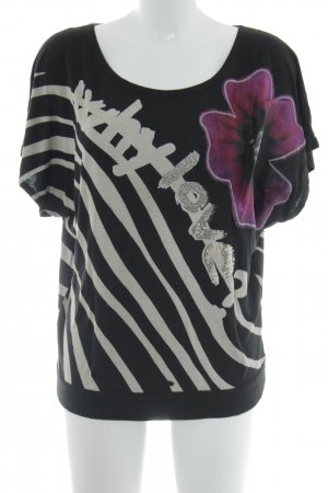 Desigual T-Shirt schwarz abstraktes Muster Casual-Look