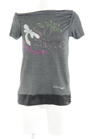 Desigual T-Shirt schwarz-silberfarben Animalmuster Casual-Look