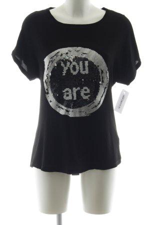 Desigual T-Shirt schwarz-silberfarben Casual-Look