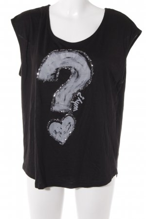 Desigual T-Shirt schwarz-silberfarben Motivdruck College-Look