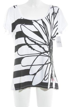 Desigual T-Shirt schwarz-weiß Blumenmuster Casual-Look
