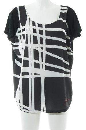 Desigual T-Shirt schwarz-weiß Streifenmuster Casual-Look