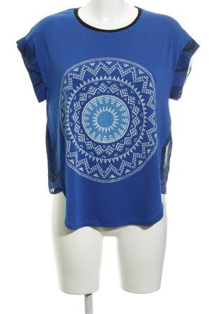 Desigual T-Shirt stahlblau Allover-Druck Boho-Look