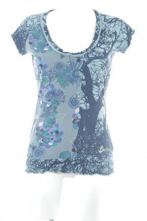 Desigual T-shirt turkoois-donkerblauw abstract patroon casual uitstraling