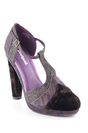 Desigual Zapatos de tacón con barra en T marrón oscuro estilo extravagante
