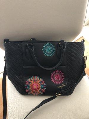Desigual Tasche mit Blümen Stickerei, schwarz