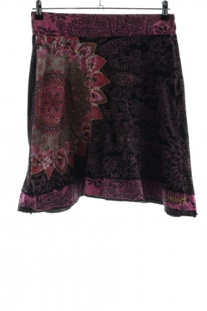 Desigual Tellerrock schwarz-pink Blumenmuster Casual-Look