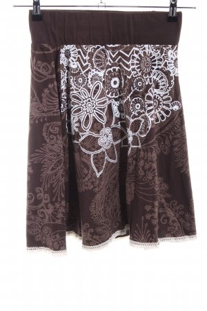 Desigual Circle Skirt brown-white abstract pattern casual look