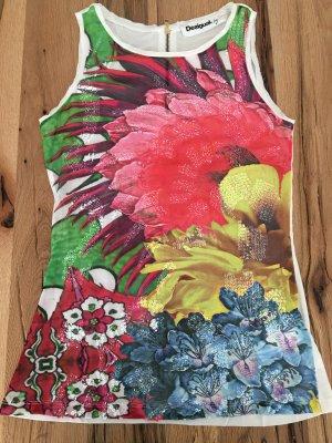 Desigual Top ärmelloses Tshirt Strass Pailletten Blumen in S