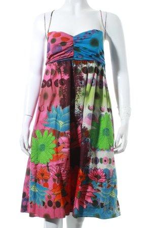 Desigual Trägerkleid blau-grün florales Muster Gypsy-Look