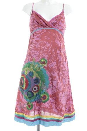 Desigual Trägerkleid hellrot-pink abstraktes Muster extravaganter Stil