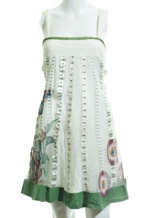 Desigual Trägerkleid weiß-grasgrün Stoffeinsätze