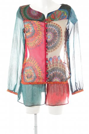 Desigual Transparenz-Bluse Batikmuster Casual-Look