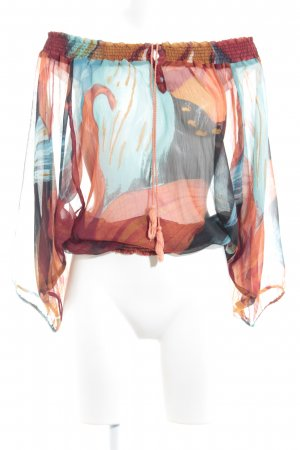 Desigual Transparante blouse donker oranje-turkoois abstract patroon