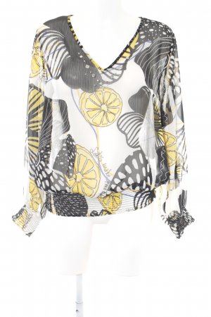 Desigual Transparenz-Bluse schwarz-gelb abstraktes Muster Casual-Look