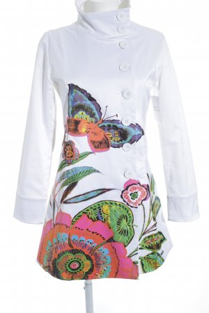 Desigual Trenchcoat weiß florales Muster Casual-Look