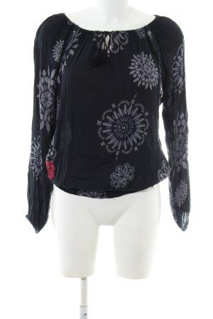 Desigual Blusa de túnica negro-gris claro estampado con diseño abstracto