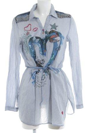 Desigual Tunique-blouse bleu azur-blanc motif abstrait style décontracté