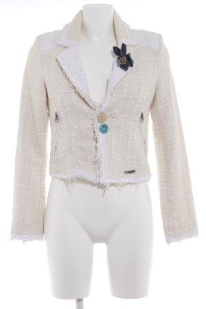 Desigual Tweedblazer creme-weiß Webmuster Casual-Look