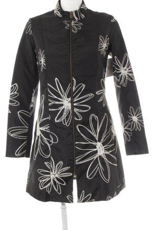 Desigual Abrigo de entretiempo negro-blanco estampado floral look casual