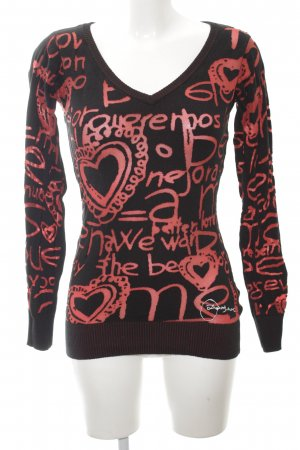 Desigual V-Neck Sweater black-red printed lettering casual look