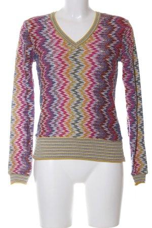 Desigual V-Ausschnitt-Pullover pink-blassgelb abstraktes Muster Casual-Look