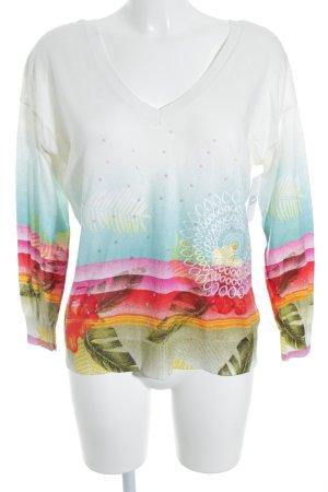 Desigual V-Ausschnitt-Pullover abstraktes Muster Casual-Look