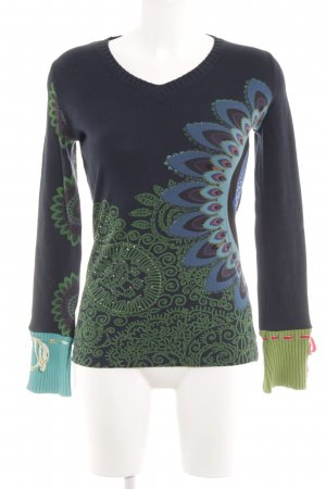 Desigual V-Neck Sweater abstract pattern casual look