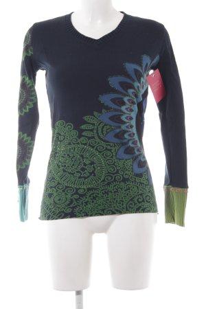 Desigual V-Neck Sweater dark blue weave pattern casual look