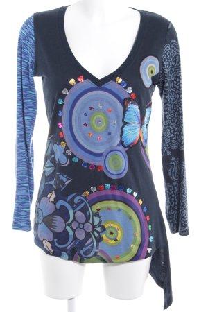 Desigual V-Ausschnitt-Shirt abstraktes Muster Casual-Look