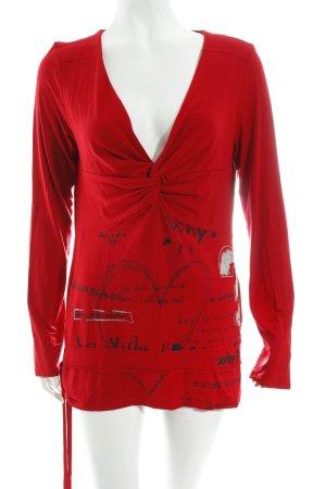 Desigual V-Ausschnitt-Shirt Herzmuster klassischer Stil