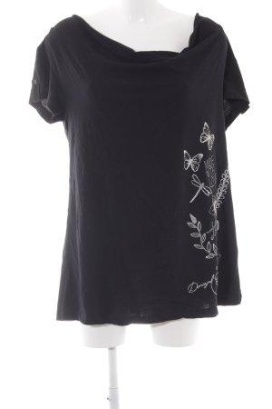Desigual Wasserfallshirt schwarz-silberfarben Motivdruck Casual-Look