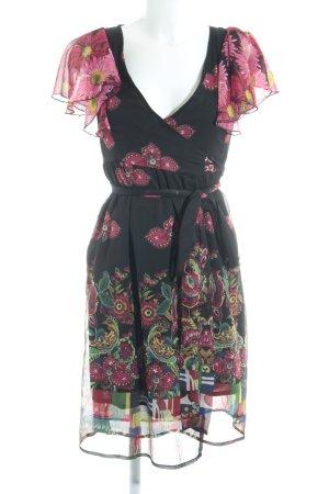 Desigual Vestido cruzado negro-magenta estampado floral look casual