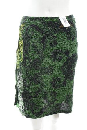 Desigual Wickelrock grün-schwarz florales Muster extravaganter Stil