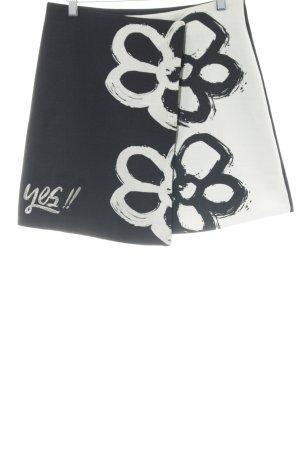 Desigual Jupe portefeuille noir-beige clair motif de fleur style décontracté