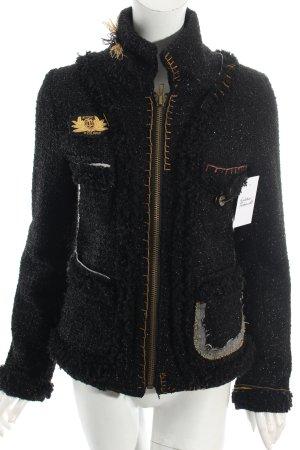 Desigual Wolljacke schwarz-goldfarben extravaganter Stil