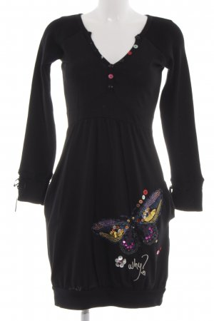 Desigual Woolen Dress black printed lettering casual look