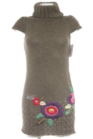 Desigual Wollkleid grüngrau-dunkelviolett Blumenmuster Casual-Look