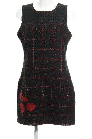 Desigual Vestido de lana negro-rojo oscuro estampado floral elegante