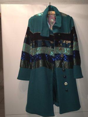 Desigual Manteau en laine bleu cadet-turquoise