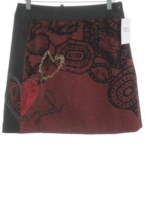 Desigual Falda de lana negro-rojo oscuro estampado con diseño abstracto