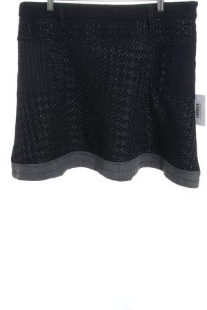 Desigual Wollrock schwarz-grau Fischgrätmuster Casual-Look
