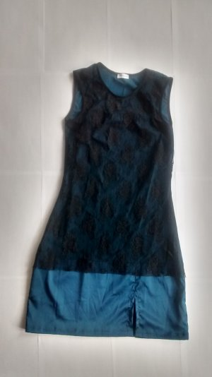 Dessous Kleid Minikleid petrol schwarz Gr. S 36 Spitze gothic Negligee neu